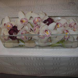 Juhlava orkideamalja hääparin pöydässää